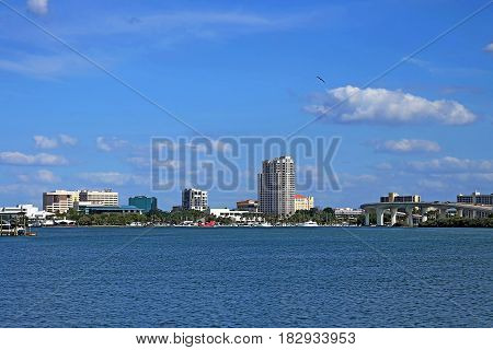 View of downtown and harbor Clearwater from Island Way