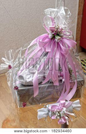 Beautiful luxury bride high heels shoes. Wedding gift