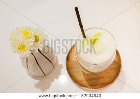 Iced Matcha Green Tea Latte stock photo