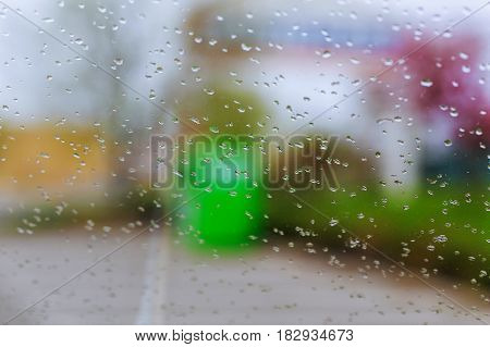 Raindrops On Glass Of Car