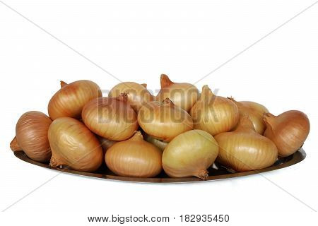 Fresh onions. Onions background. Ripe onions isolated on white background