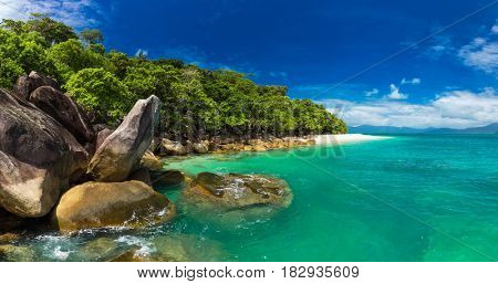 Nudey Beach on Fitzroy Island, Cairns area, Queensland, Australia, part of Great Barrier Reef.