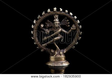 Divinity of shiva from metal on a black background