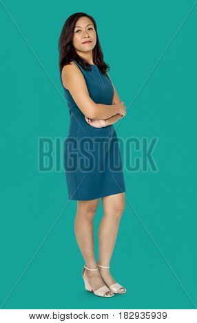 Adult Woman Gesture Stand Studio Portrait