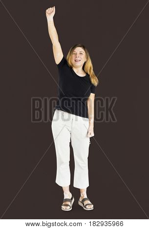 Adult Woman Hand Up Gesture Studio Portrait