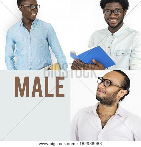 People Set of Diversity Men Wearing Eyeglasses Studio Collage