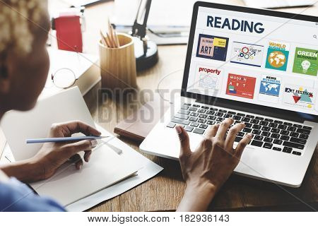 Woman working on laptop network graphic overlay