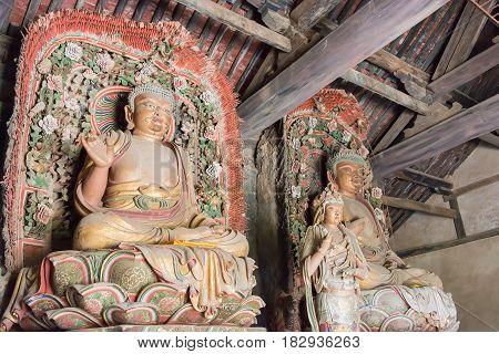 Shanxi, China -  Aug 25 2015: Budda Statues At Sima Guang Temple (sima Wengong Ci). A Famous Histori