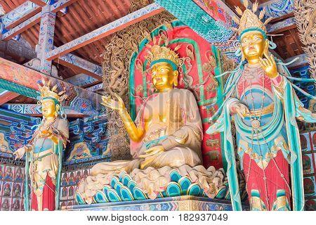 Shanxi, China -  Sept 12 2015: Budda Statues At Duofu Temple. A Famous Historic Site In Taiyuan, Sha