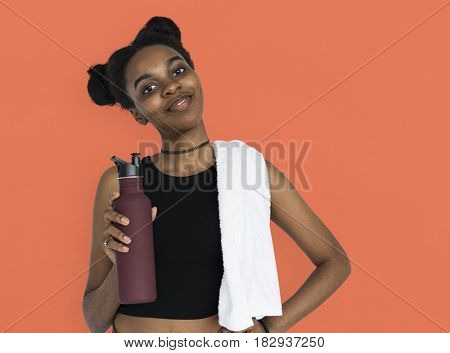 Young Women Hands Hold Water Bottle Studio