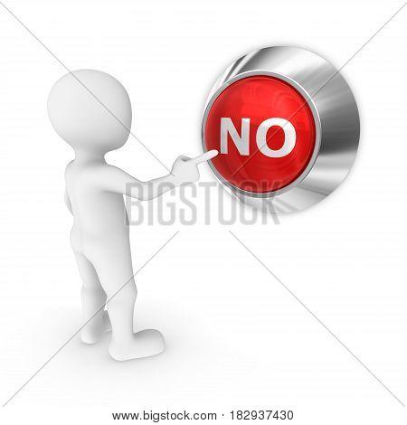 3d man presses the no button. 3d illustration.