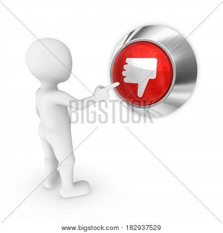 3d man presses the dislike button.  3d illustration.