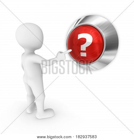 3D Man Presses The Button With Question Mark.