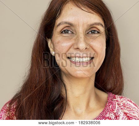Adult woman smiling studio portrait