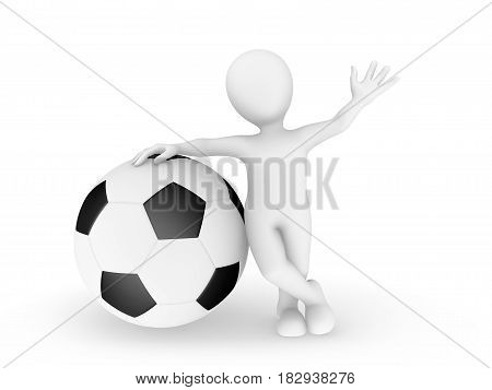 3d man with big soccerball.  3d illustration.