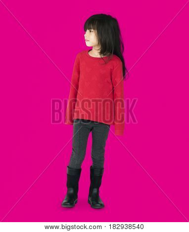 A Caucasian Girls Standing Background Studio Portrait