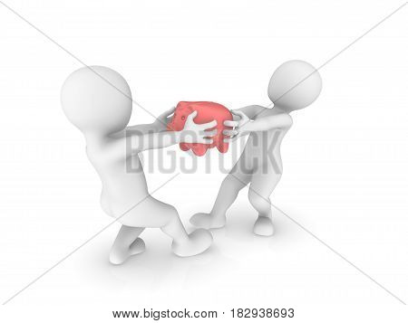 3d small people fights for piggy bank.