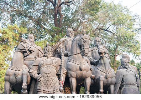 Shanxi, China -  Sept 27 2015: Statues Of Li Shimin And Generals At Jinci Temple. A Famous Historic