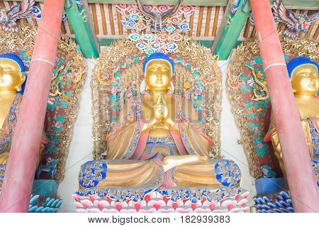 Shanxi, China -  Sept 07 2015: Budda Statues At Wubian Temple. A Famous Historic Site In Taigu, Shan