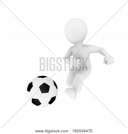 3d man with soccerball isolated on white background. 3d illustration.