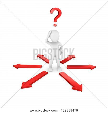 3d man with red question mark. Choosing a way. 3d illustration.