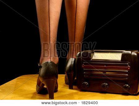Sexy Legs And Retro Radio