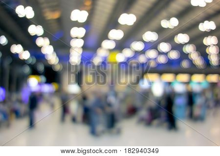 Blurred terminal departure at airport abstract background.