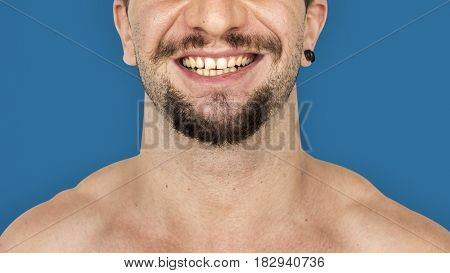 Adult man smiling studio portrait
