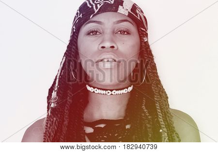 African woman portrait shoot with bohemian style