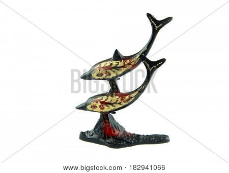 Two dolphins bronze ornament on white background