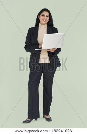 Business Woman Asian Laptop Concept