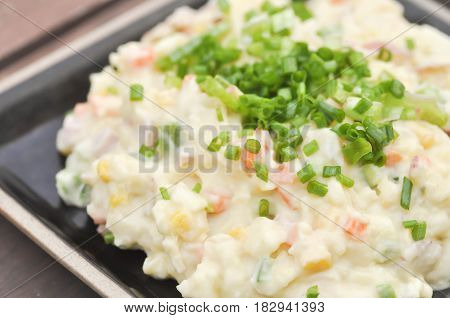 mashed potato with green onion carrot and sweet corn