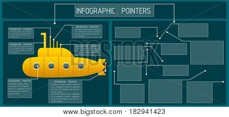 Infographic pointers. Frame and a text box with the extension line and a circular indicator. Symbols and graphics resources. Vector illustration.