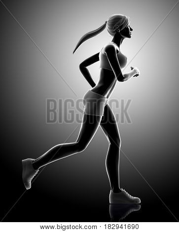 3D Illustration Of Woman Running Pose.