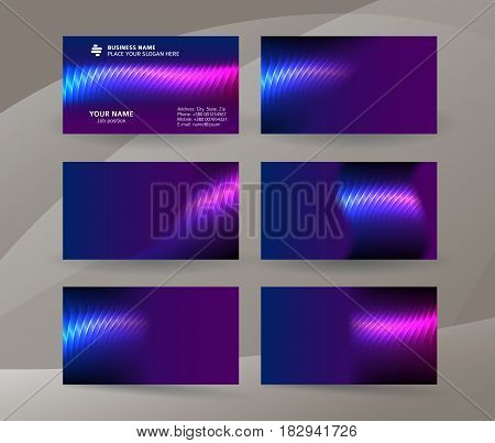 Business Card Background Blue Magenta Neon Effect09