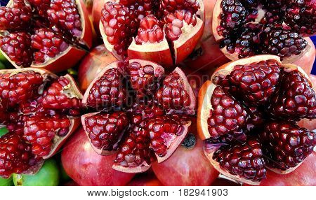 Pomegranate color and food background . .