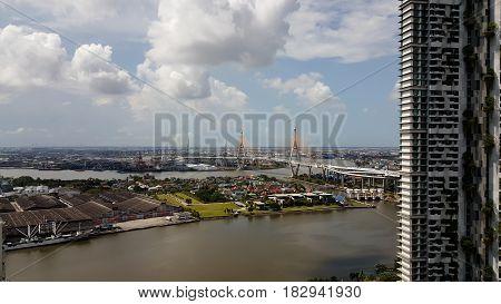Chao Phraya river city scape and bangkok