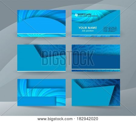 Business Card Background Blue Set Of Horizontal Templates04