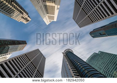 Business Buildings Skyline Looking Up With Blue Sky