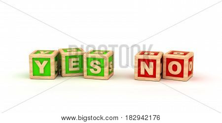 Yes No Text Cube (Isolated on white background)  3D Rendering
