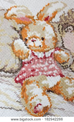 Floss embroidery cute Bunny in a pink sundress