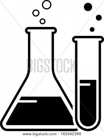 Laboratory Glass Beaker And Test Tube Icon  Raster Illustration
