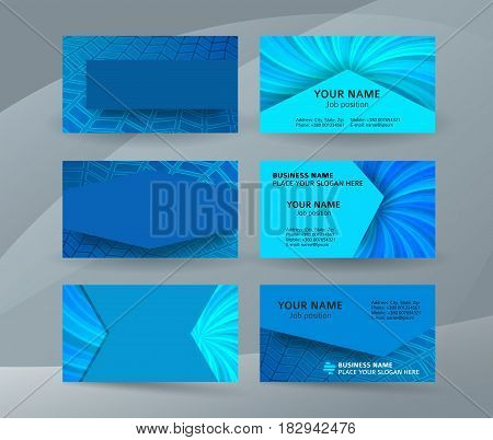 Business Card Background Blue Set Of Horizontal Templates08
