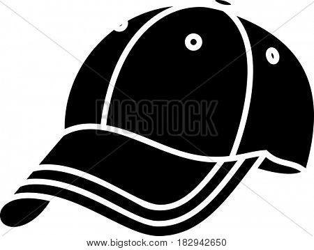 Baseball Cap Icon  Raster Illustration