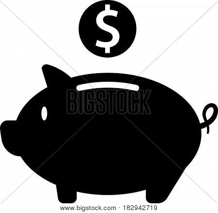 Coin Money Box Piggy Bank  Raster Illustration