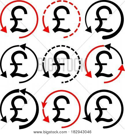 Money Back Pound Icon  Raster Illustration