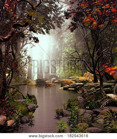 3D Illustration of forest landscape with a small lake in a cloudy atmosphere