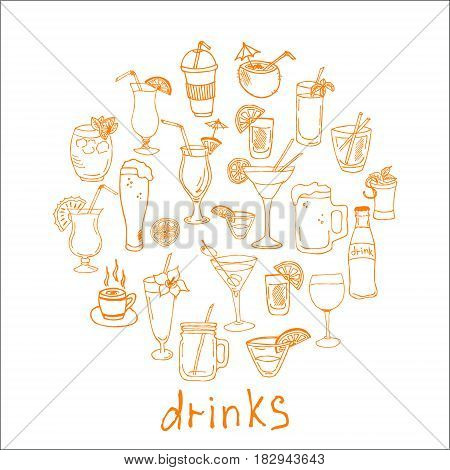 Hand drawn drinks doodle Icons collection on white background. Vector illustration for your design