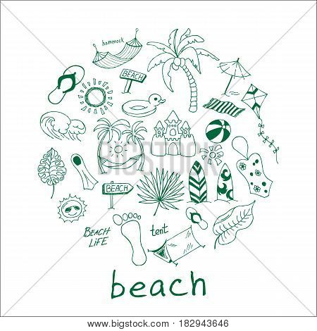 Hand drawn travel, vacation, beach doodle Icons collection on white background. Vector illustration for your design