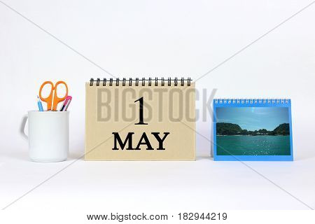 Deadline 1 May Calendar With White Background and Office.